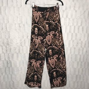 Angie Black Coral Floral Palazzo Wide Leg Pants